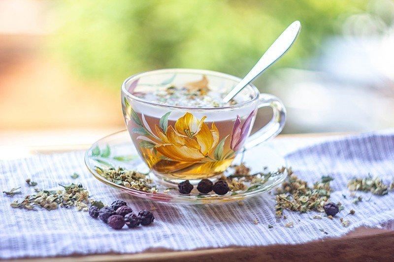 Цветки калины: отвар в чашке