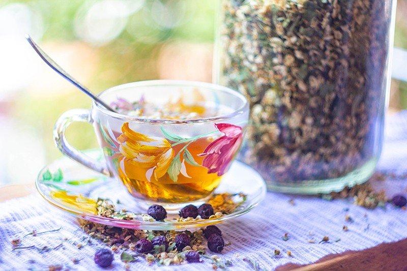 Цветки калины: свежий чай в чашке