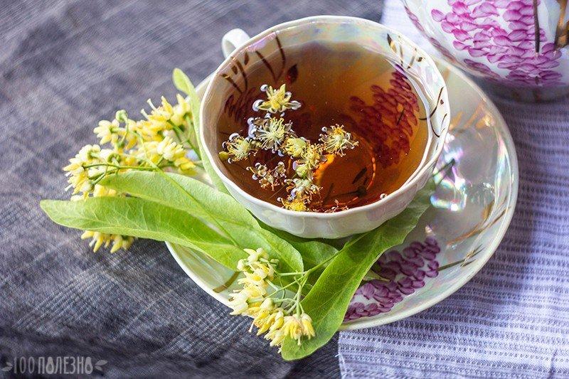 Липовый чай в чашке и липовый цвет