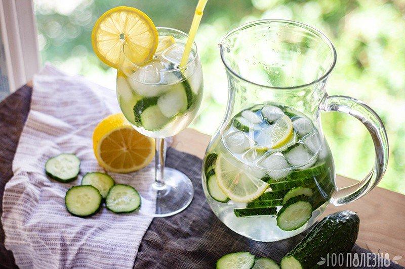 Огуречно-лимонная вода в кувшине