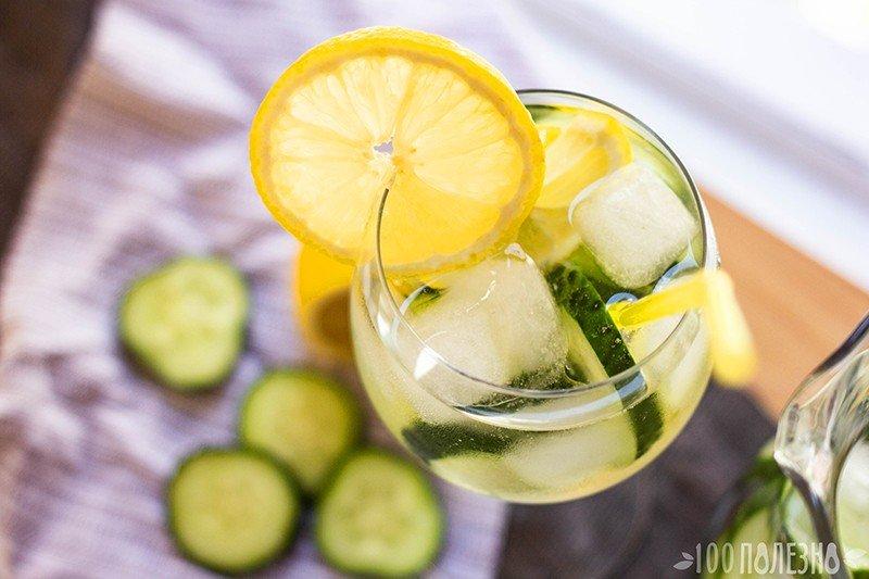 Огуречная вода с лимоном и ледяными кубиками