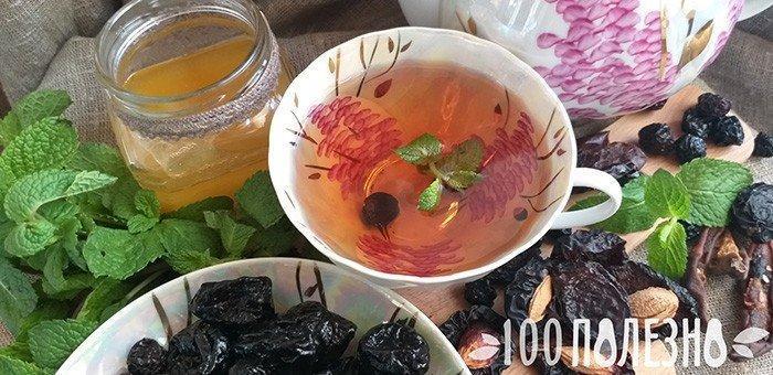 Мятный чай с сухофруктами