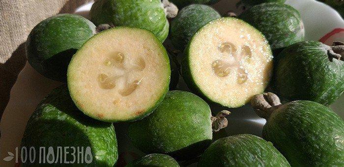 Что такое фейхоа - фото фрукта в разрезе