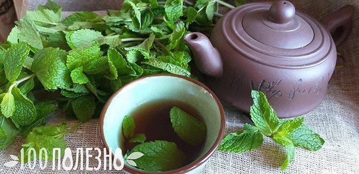 Мятный чай в чашке и глиняном чайнике