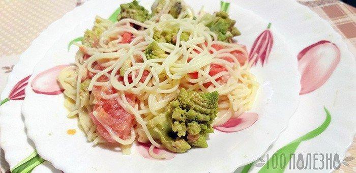 спагетти с овощной подливкой