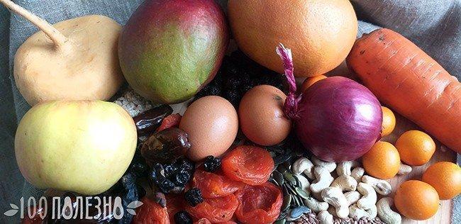 фрукты, овощи и яйца