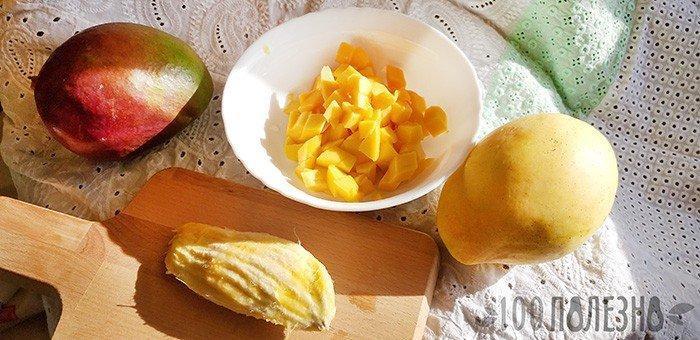 мякоть и косточка манго фото