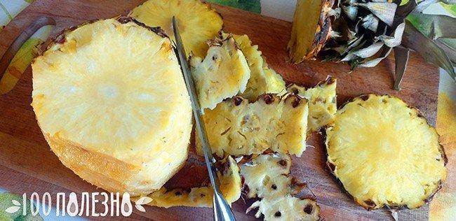 удаление кожуры с ананаса