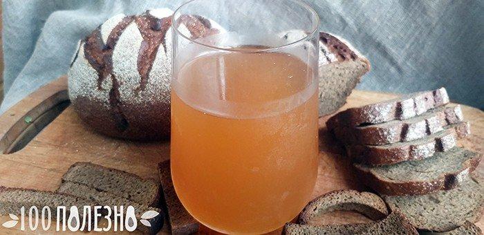 Хлебный квас в стакане