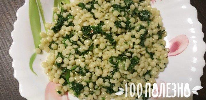 вареная паста птитим со шпинатом