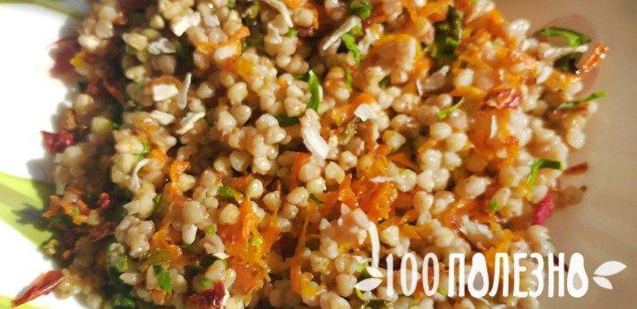 вареная гречка с зеленью и морковью