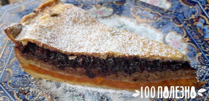 слоеный пирог с курагой, орехами и черносливом