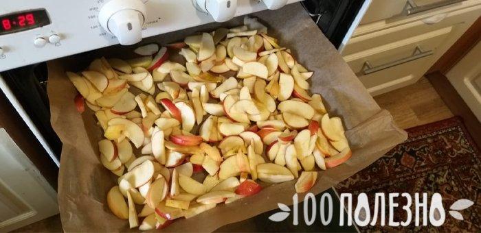 сушка яблок в духовке на противне